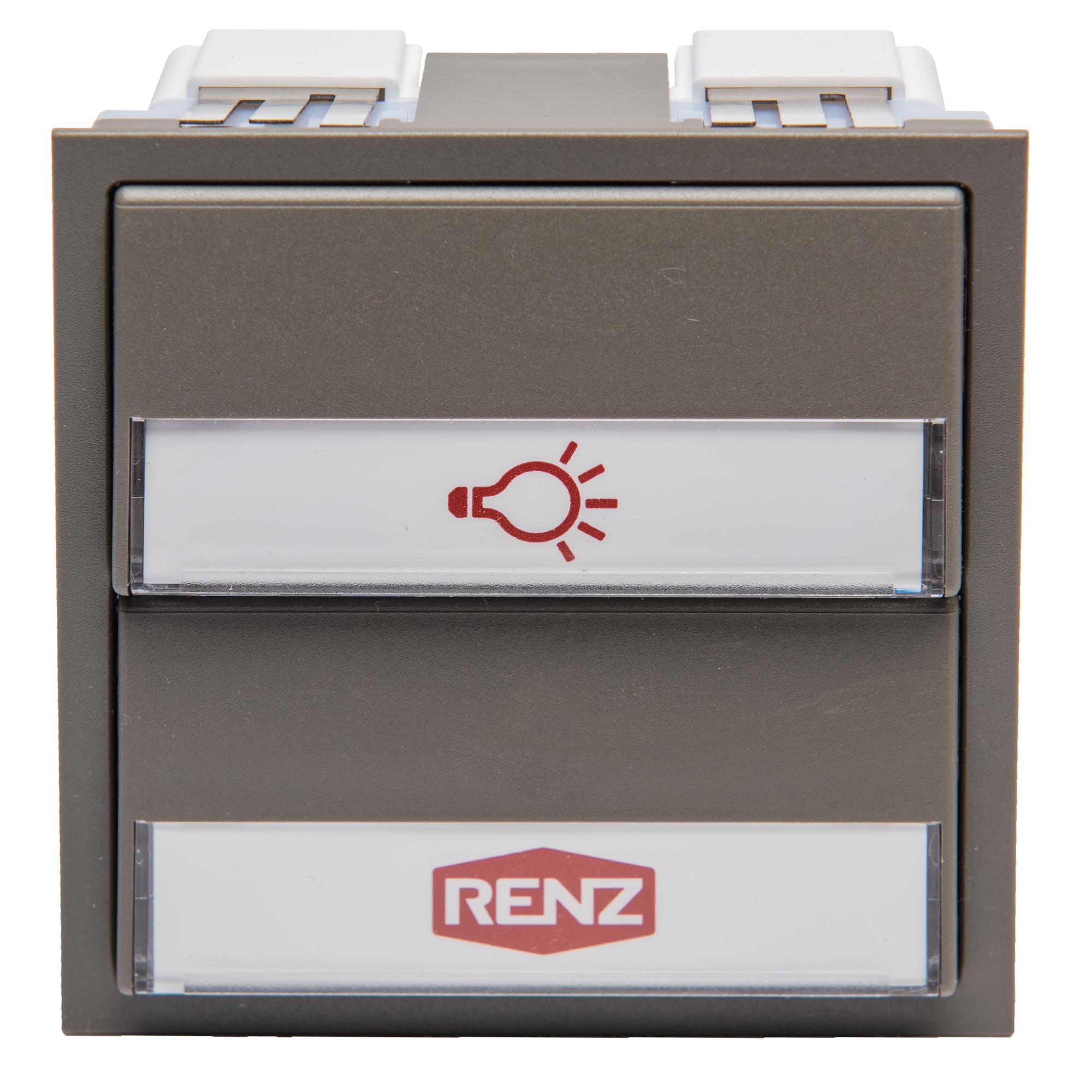 Renz Tastenmodul mit 1 Licht- und 1 Klingeltaster grau