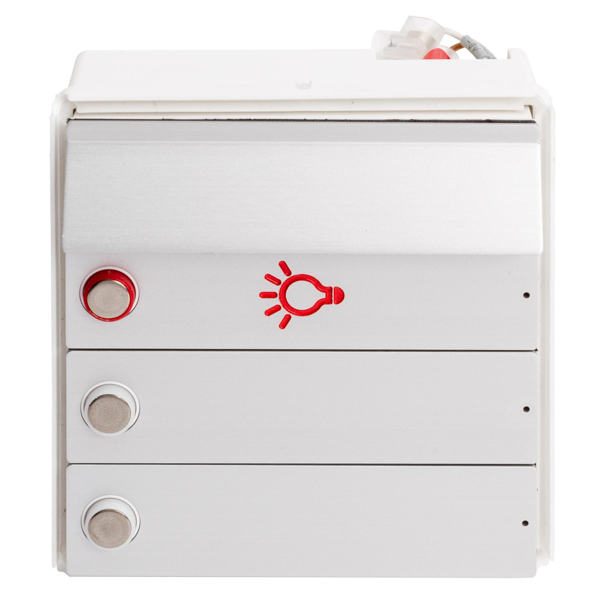 RENZ Tastenmodul RSA2 kompakt - 2 Klingelschilder & 1 Lichttaste-Aluminium 97-9-85336