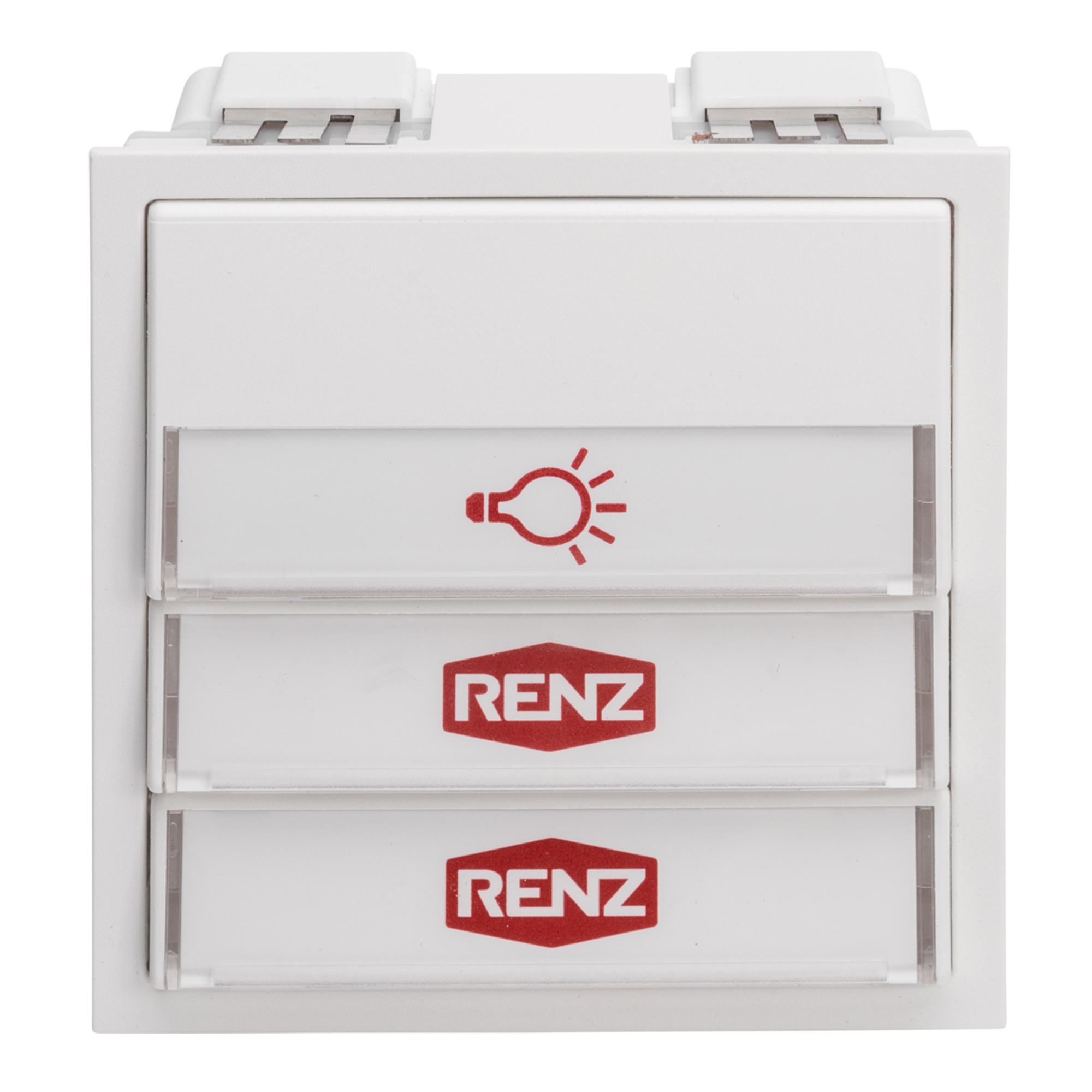 Renz Tastenmodul mit 1 Licht- und 2 Klingeltaster weiß