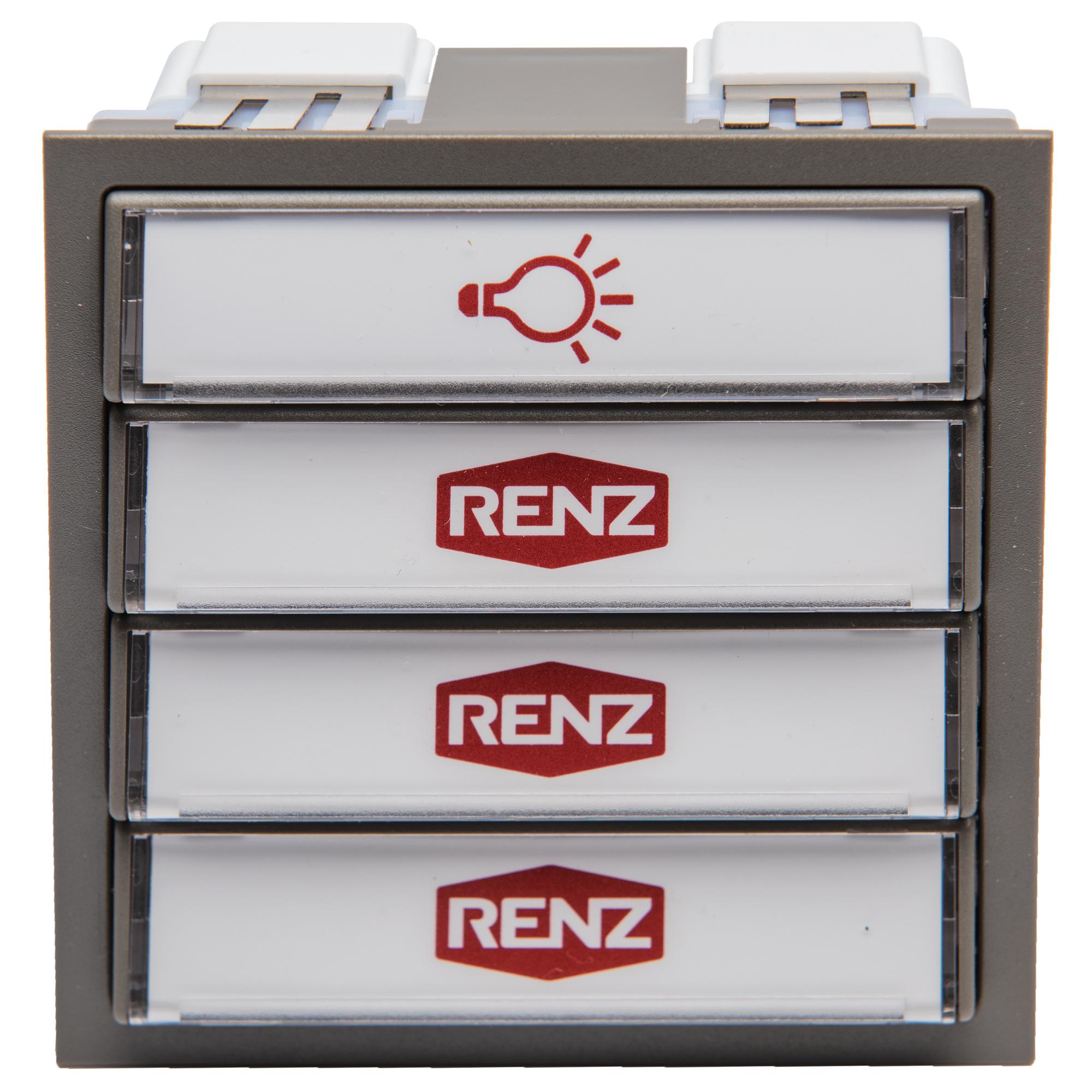 Renz Tastenmodul 1 Licht + 3Klingel grau