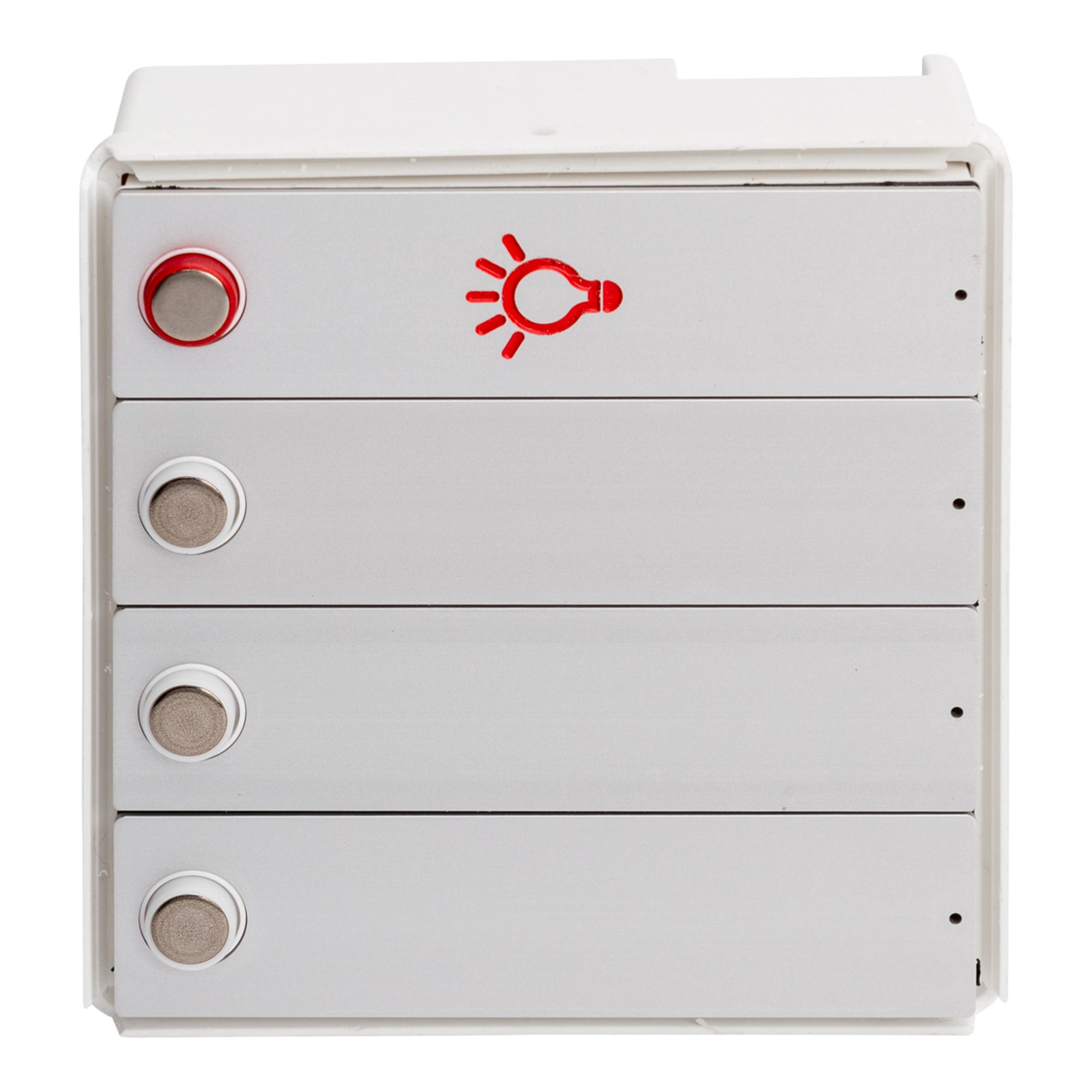 RENZ Tastenmodul RSA2 kompakt - 3 Klingel- & 1 Lichttaster-Aluminium 97-9-85328