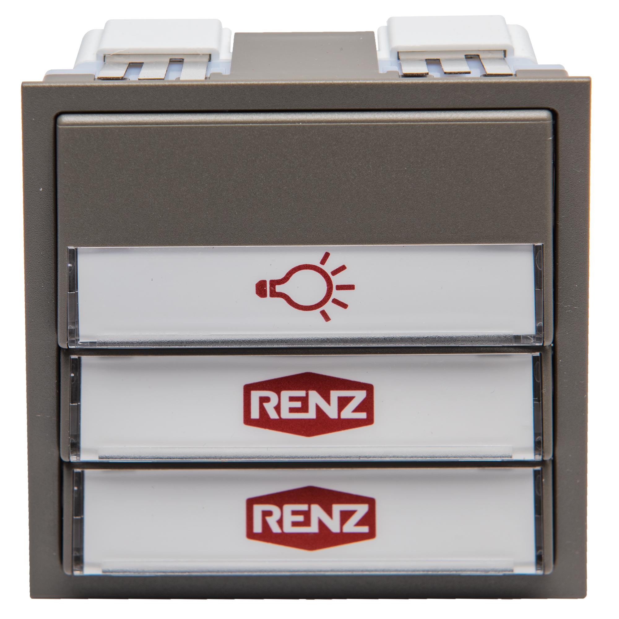 Renz Tastenmodul mit 1 Licht- und 2 Klingeltaster grau