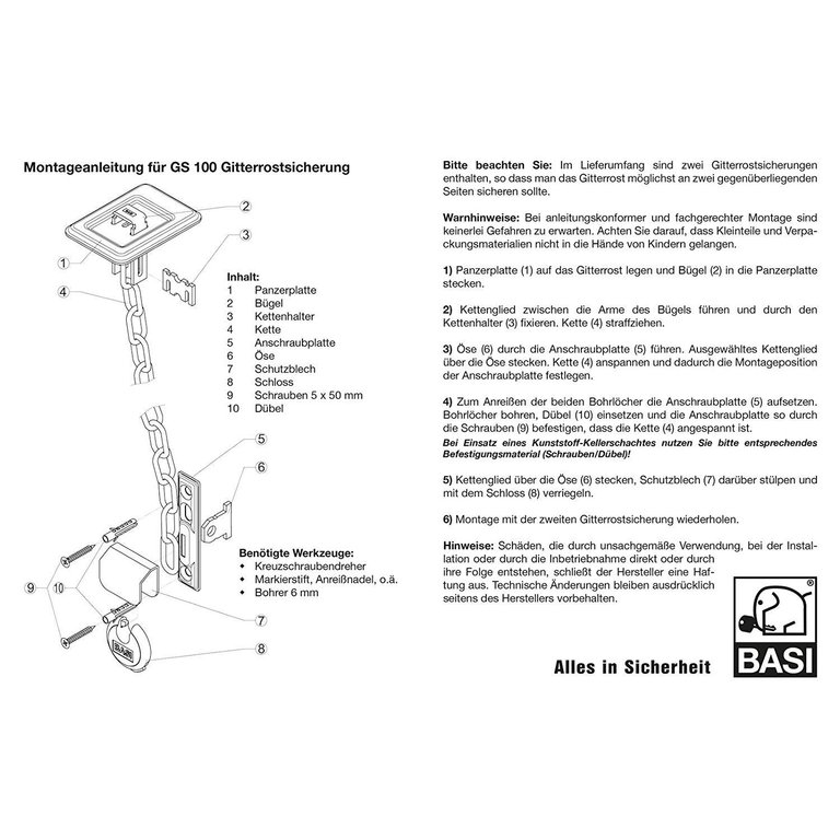 Basi S1620-0000 Gitterrostsicherung 100