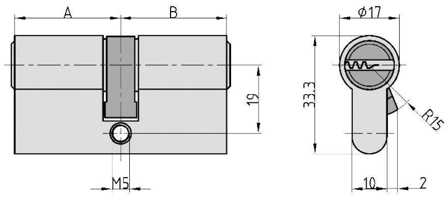 SATURN Bohrmuldenzylinder 30/30 mm 5 Schlüssel
